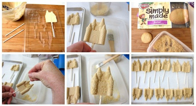 How to make sand castle lollipops using peanut butter flavored candy melts.