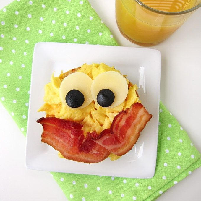 Fun kid's back to school breakfast. Smiley Face Egg Sandwich.