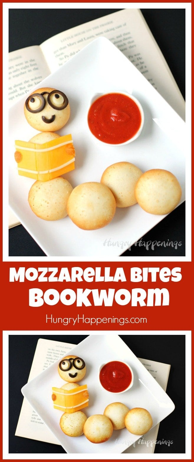 Create this fun back to school snack for your kids by decorating Farm Rich Mozzarella Bites with cheese and olives so that it looks like a bookworm. Ad