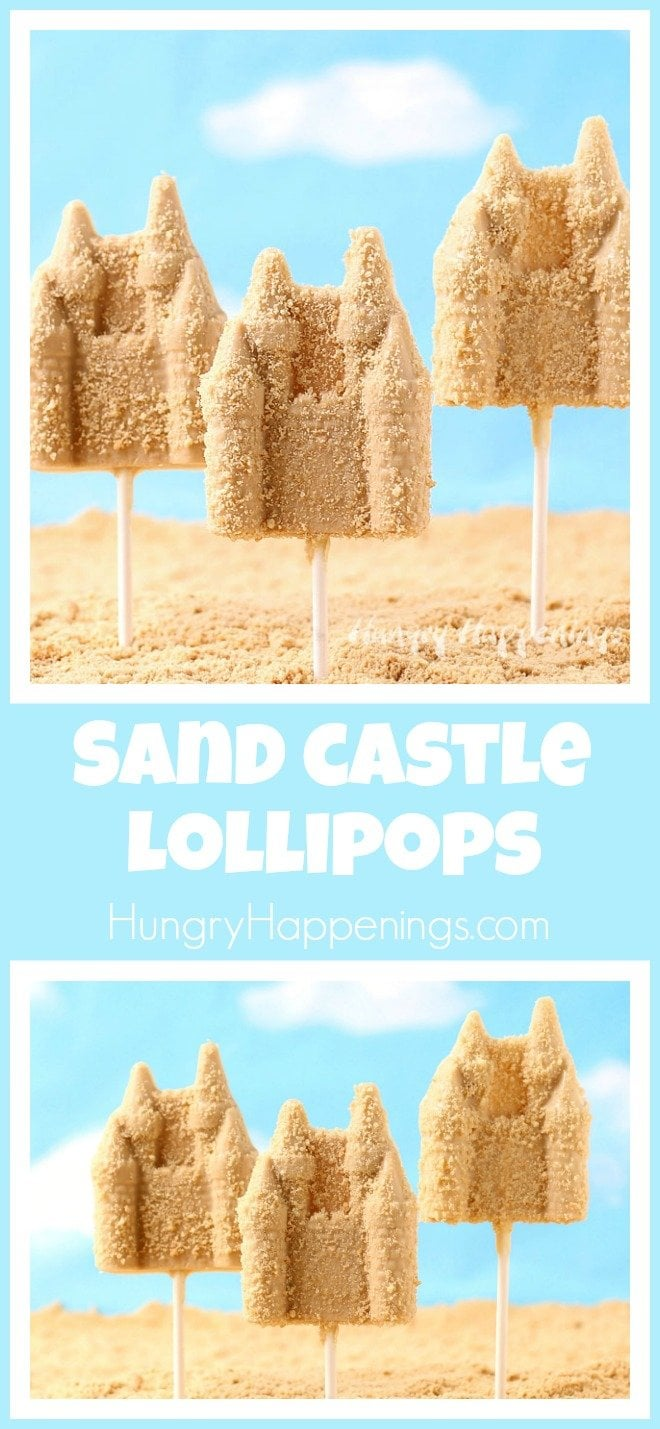 Peanut Butter Sand Castle Lollipops make great party favors or treats for a beach themed event or a princess party.