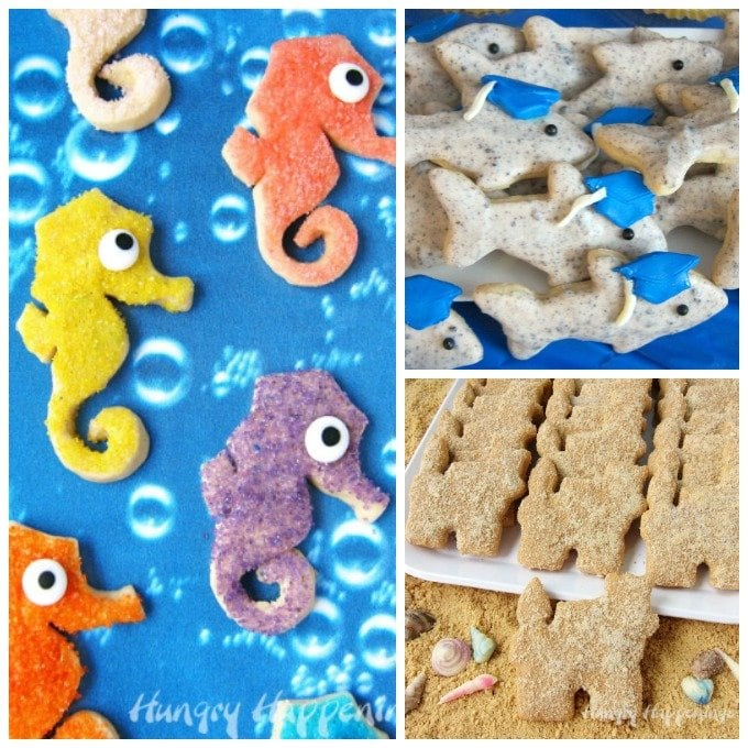 These Seahorse, Shark, and Sand Castle Cookies are all super easy to decorate. See how at HungryHappenings.com.