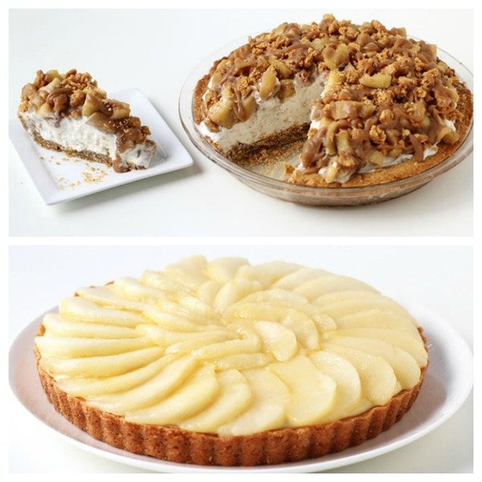 Fall Desserts - Apple Crisp Ice Cream Pie and French Pear Tart