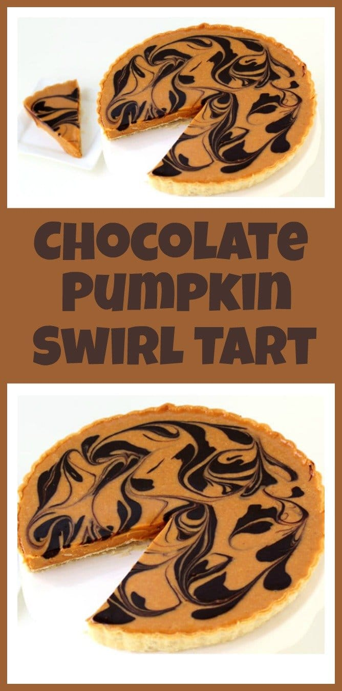 Chocolate Pumpkin Swirl Tart is a beautifully quick and easy recipe to make this fall. This dessert is perfect for Halloween or Thanksgiving.