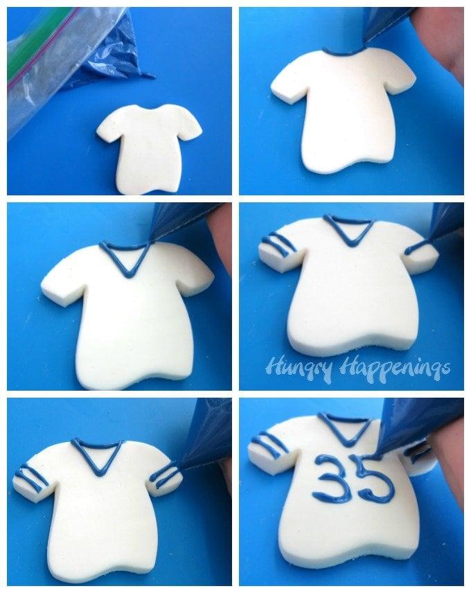 Decorate fudge football jerseys using candy melts.