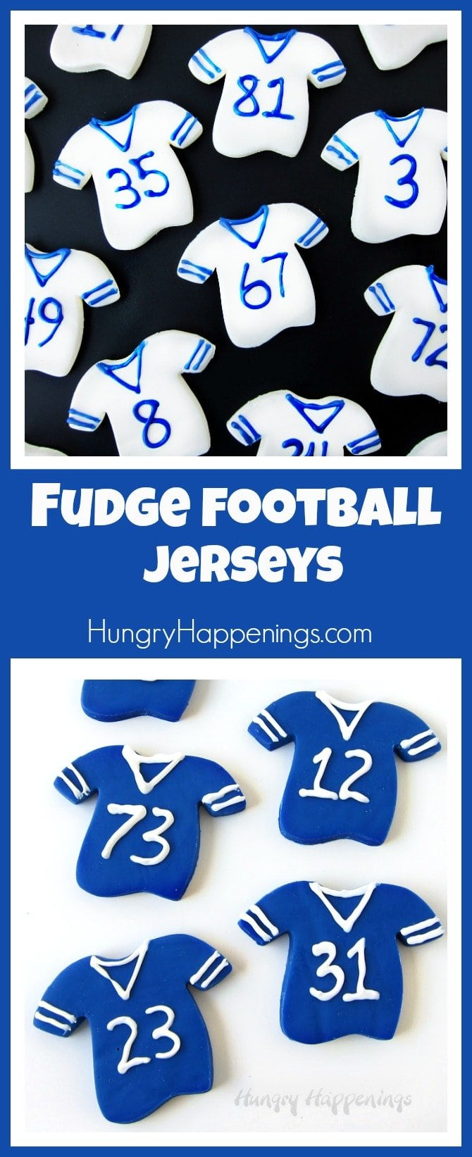 Fudge Football Jerseys are super easy to make and are perfect game time treats. You can personalize them using your favorite team's colors and football players numbers.