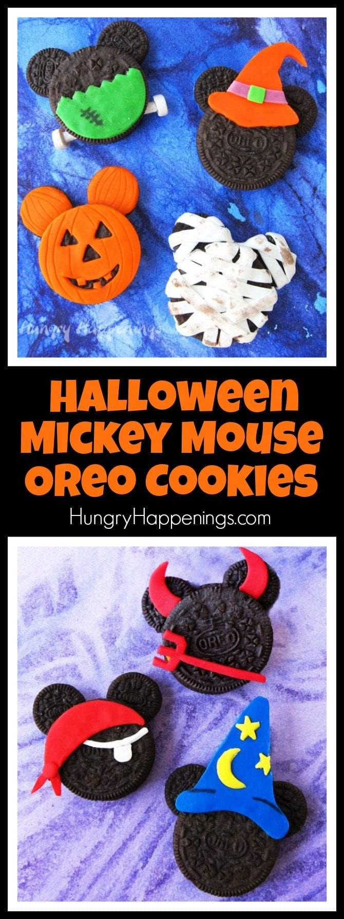 Halloween Mickey Mouse Oreo Cookies are fun to decorate using candy clay. See how to turn Mickey into a pirate, jack-o-lantern, mummy, devil, witch, vampire, wizard, and even Frankenstein's monster.