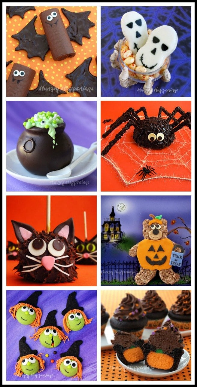 Fun Halloween food crafts make great treats for your holiday parties. See the step-by-step recipe tutorials for all these cute sweets at HungryHappenings.com.