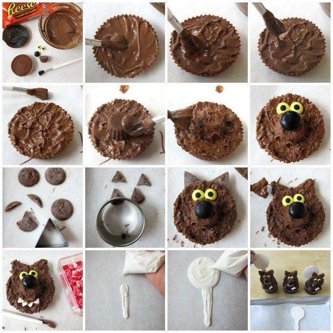 How to make and decorate Reese's Cup Werewolf Cupcakes. They are great treats for Halloween.