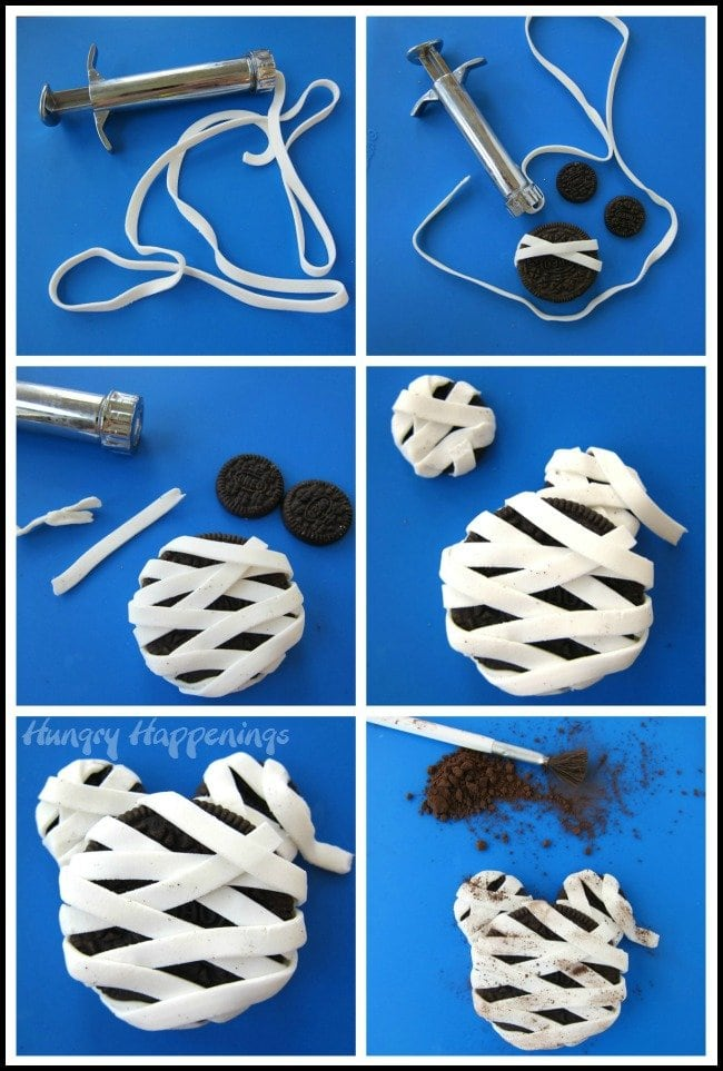 How to make a Mickey Mouse Mummy Oreo Cookie Halloween treat using candy clay.
