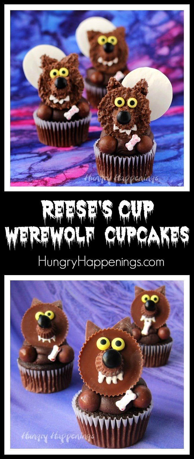 Reese's Cup Werewolf Cupcakes are quick and easy treats to make for Halloween and they are so cute.