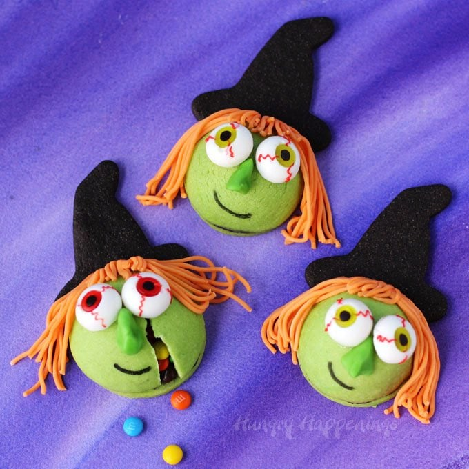 Kooky Witch Cookies Filled with Candy are fun Halloween desserts.