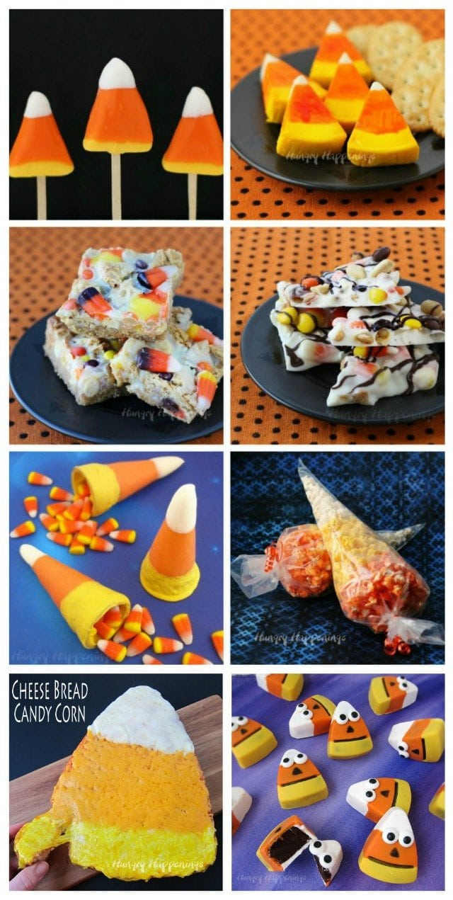 Create fun candy corn themed treats and snacks for Halloween.