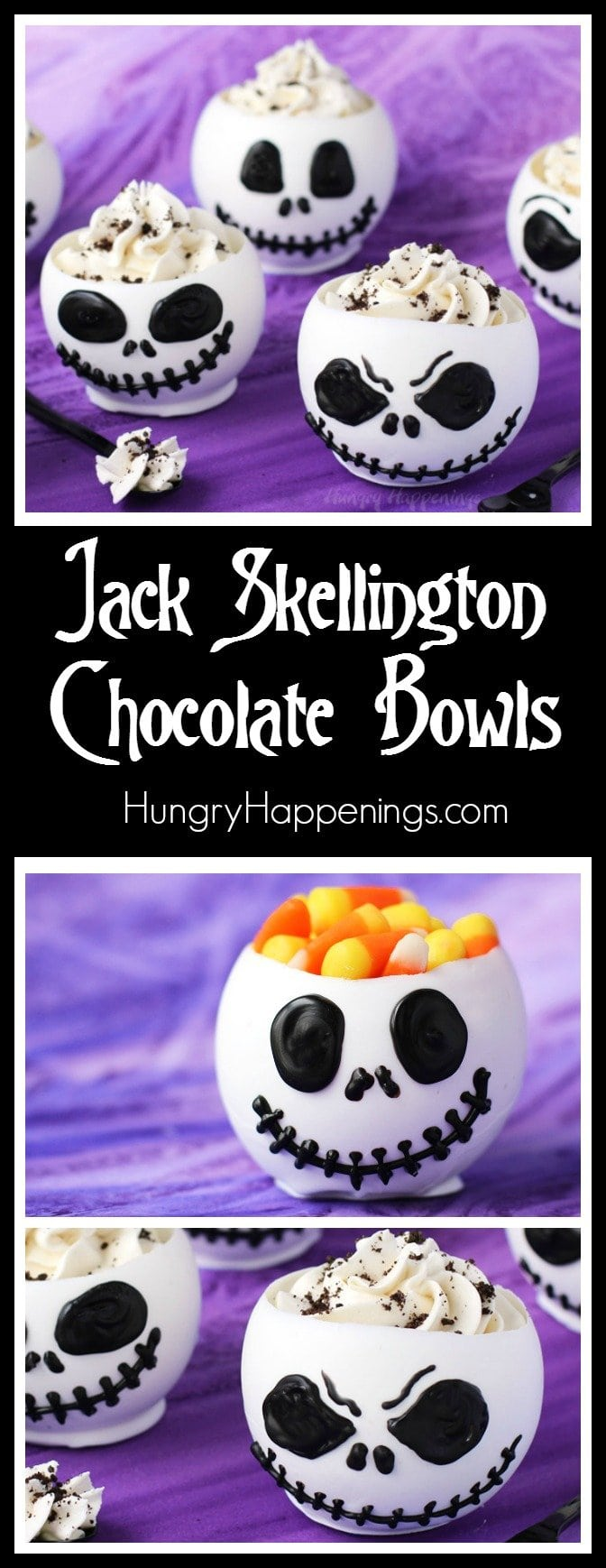 These Jack Skellington Chocolate Bowls filled with Cookies 'n Cream Cheesecake Mousse or candy are to die for and they are perfect desserts to serve at a Halloween celebration or a Nightmare Before Christmas party.
