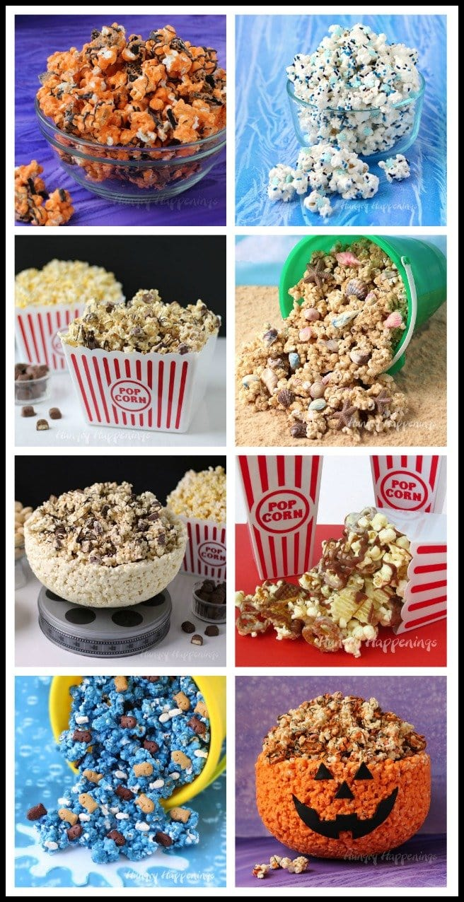 Toss popcorn with chocolate and add in your favorite candies, cookies, and more. See all the recipes at HungryHappenings.com.