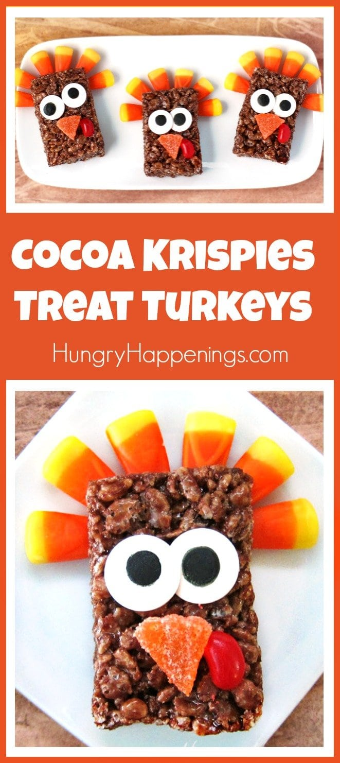 Your kids are going to love making and eating these sweet Cocoa Krispies Treat Turkeys for Thanksgiving. They couldn't be easier to make.