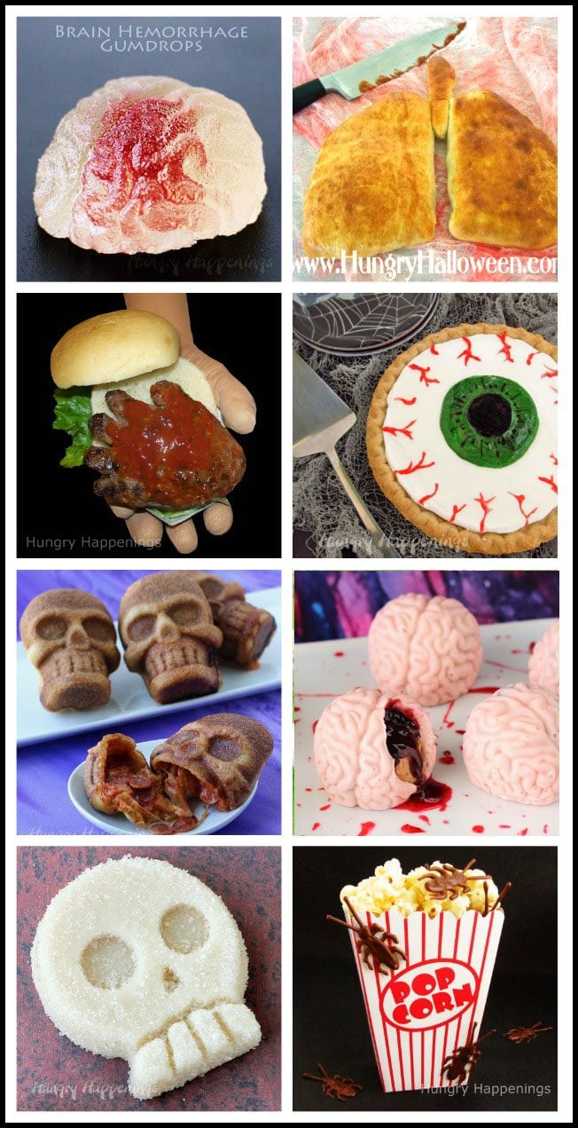 Make Creepy Halloween Recipes including hand-burgers, pizza skulls, candy brains and more. See all the tutorials at HungryHappenings.com.