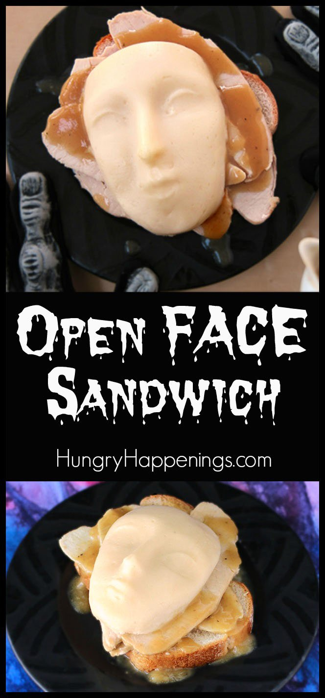 shed potatoes form an eerie face that sit atop a gravy covered turkey sandwich in this clever take on an open face sandwich. This is the perfect meal for your gory Halloween dinner.