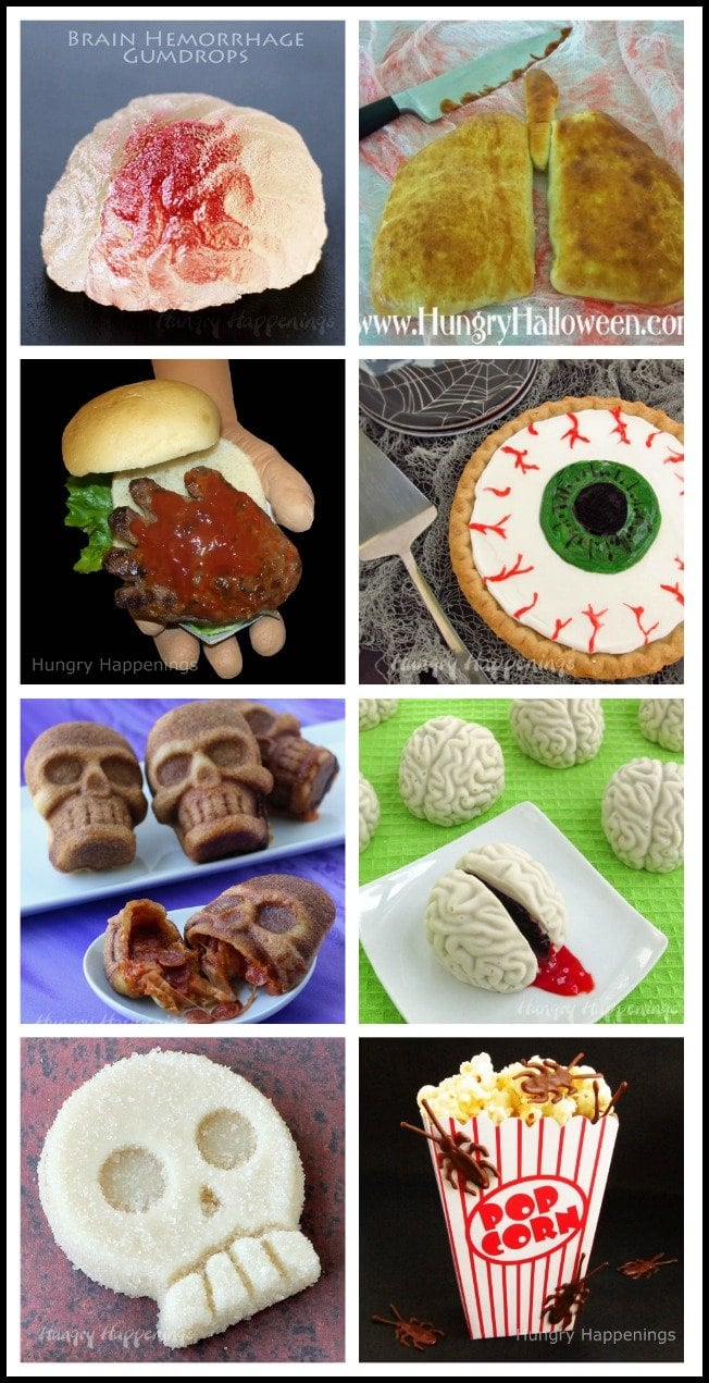 Freak out your party guests by serving some of this gross Halloween food. Even though these hand-burgers, pizza skulls, and cake ball brains look creepy, they taste great.