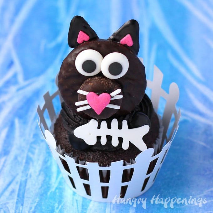 Black Cat Cupcakes topped with Peppermint Patty Cats