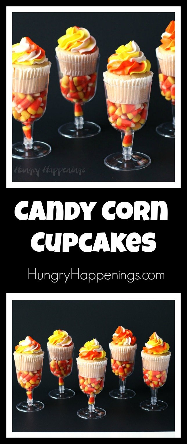Pipe a pretty swirl of orange, yellow, and white frosting onto your cupcakes then nestle the cupcakes in plastic wine glasses filled with candy corn. These pretty Candy Corn Cupcakes are easy to make and will dress up your Halloween dessert table.