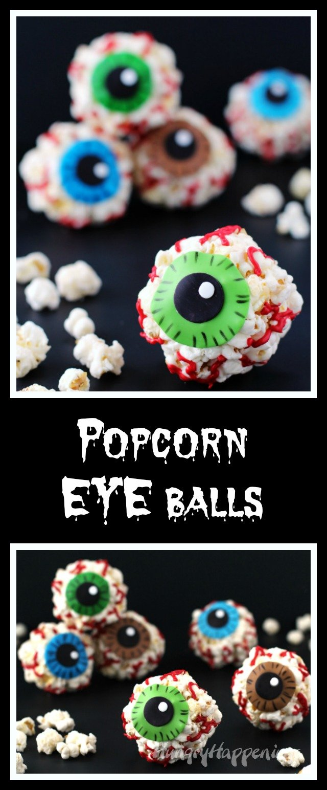 Make a quick batch of popcorn balls using the microwave then dress them up to look like gruesome Popcorn EYEballs for Halloween using candy clay.