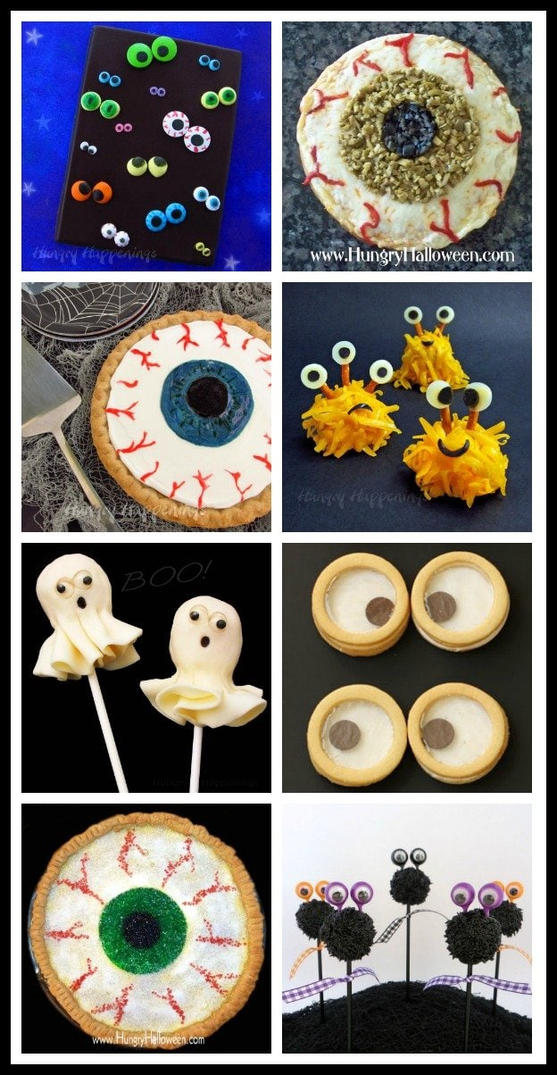 Have fun making eyeball themed Halloween treats. See all the recipe tutorials at HugryHappenings.com.