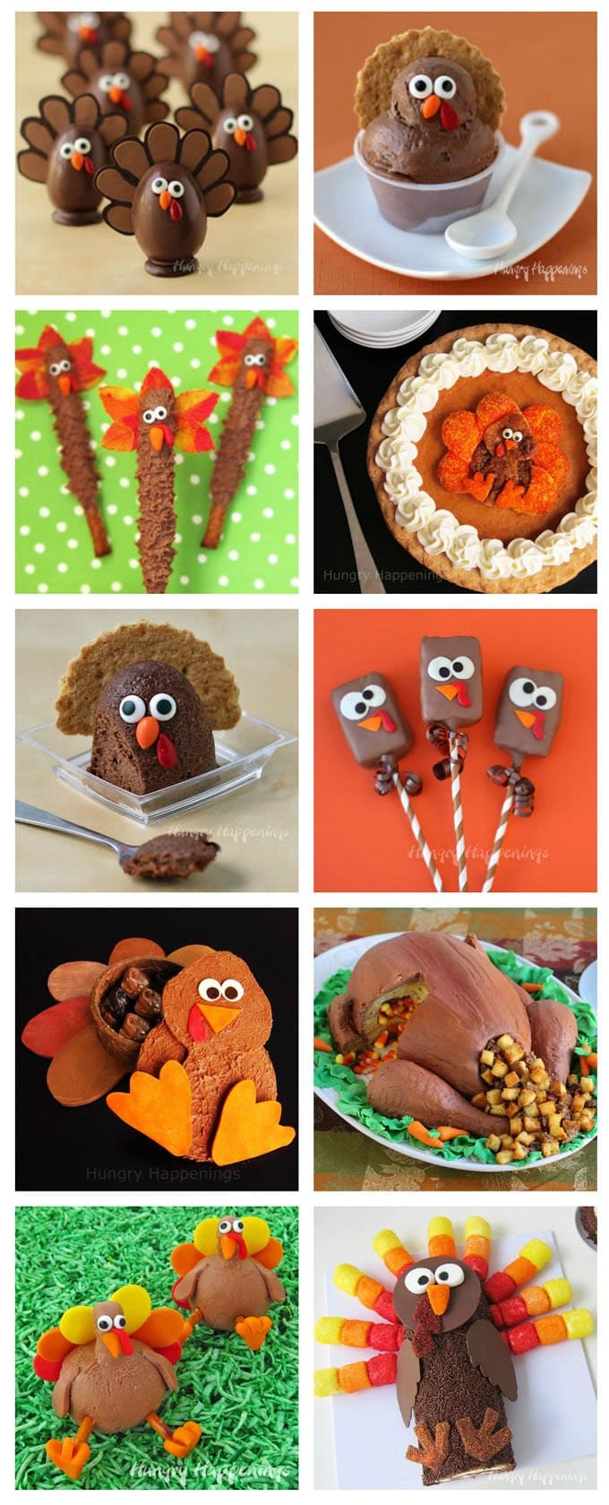 Dress up your Thanksgiving dessert table by serving some of these cute turkey themed treats. See all the tutorials at HungryHappenings.com.