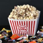 Use all that left over Halloween candy to make some amazing White Chocolate Candy Bar Popcorn. You can package it up and give it as Christmas gifts or enjoy it as a movie night snack.