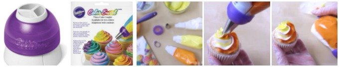 Make frosting a tri-color swirl onto cupcakes easy by using a Wilton Color Swirl Three Color Coupler
