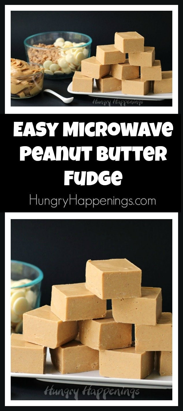 Use white candy melts, peanut butter chips, peanut butter and salt to make this Easy Microwave Peanut Butter Fudge. It's so smooth and creamy. You will love it!