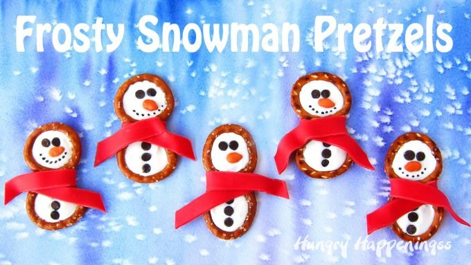 Have fun building these cute Frosty Snowman Pretzels with Candy Clay Scarves in the warmth of your kitchen this winter. Each salty and sweet treats is perfect for Christmas or any snowy day.