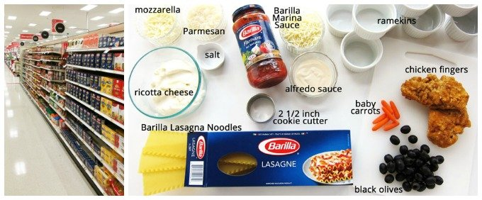 Use Barilla Pasta and sauce to make chicken parmesan lasagna snowmen for Christmas. You can find all the ingredients you need at Target.