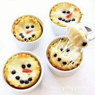 Mini Chicken Parmesan Lasagna Snowmen