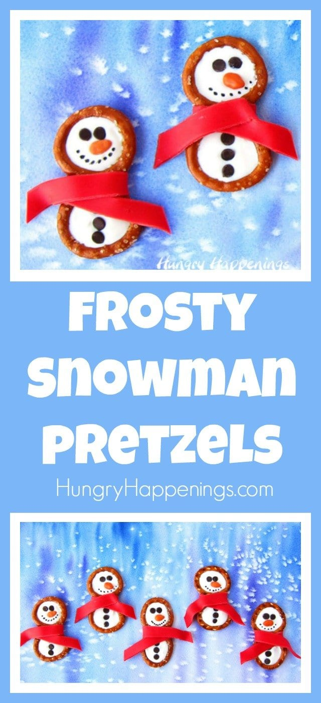 frosty snowman pretzels with candy clay scarves