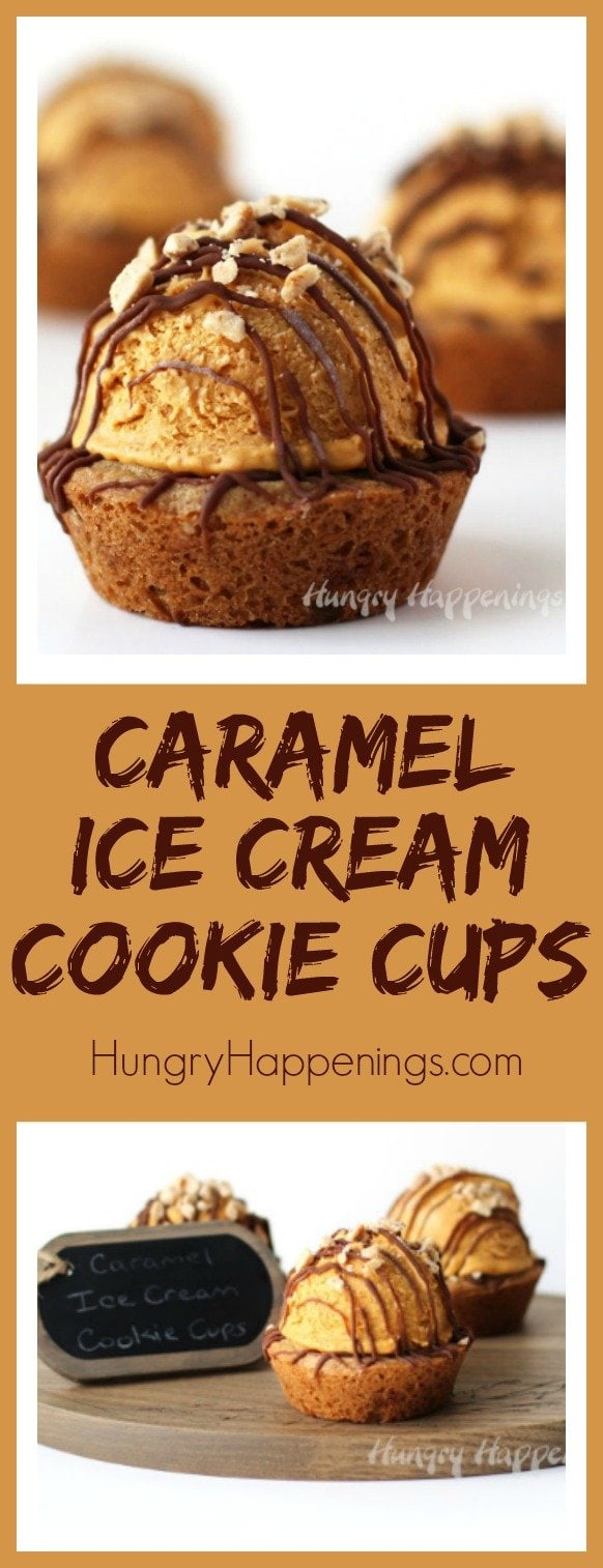 Top toffee chip cookies with a scoop of lusciously creamy no-churn ice cream made with Dulce de Leche and whipped cream then drizzle on some chocolate to make these Caramel Ice Cream Cookie Cups look party worthy.