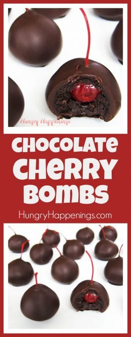 Combine a chocolate cake ball with a chocolate dipped maraschino cherry and you get the most amazing sweet treat, the Chocolate Cherry Bomb.