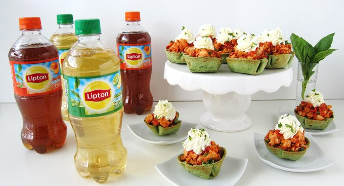 Serve Lipton Iced Tea with Roasted Red Pepper Pesto Chicken Salad Cups