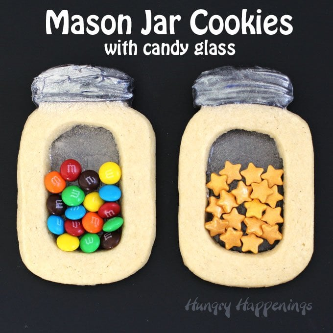 Mason jar cookies with candy glass and sprinkles for What to fill mason jars with for christmas
