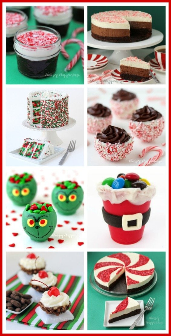 Dress up your holiday table by serving some of these pretty Christmas desserts. See all the recipes at HungryHappenings.com.