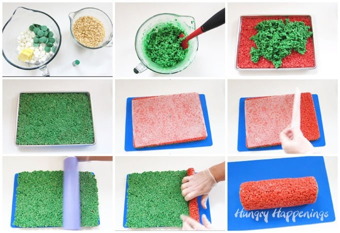 How to make red and green rice krispie treat pinwheels for Christmas.