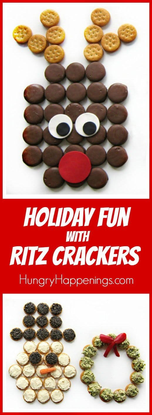 Have some holiday fun by crafting these RITZ Cracker Christmas Snacks: a Chocolate Peanut Butter Cracker Rudolph, a cool Roasted Garlic Parmesan Topped Cracker Snowman, and a savory Pesto Chicken Salad Cracker Wreath.
