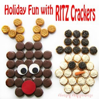 RITZ Crackers Christmas Snacks – Chocolate Peanut Butter Rudolph, Cheese and Olive Snowman, and Pesto Chicken Salad Wreath