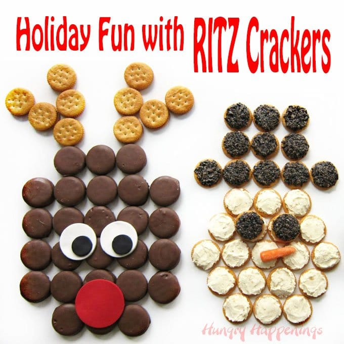 Have some holiday fun by crafting these RITZ Crackers Christmas Snacks: a Chocolate Peanut Butter Cracker Rudolph, a cool Roasted Garlic Parmesan Topped Cracker Snowman, and a savory Pesto Chicken Salad Cracker Wreath.