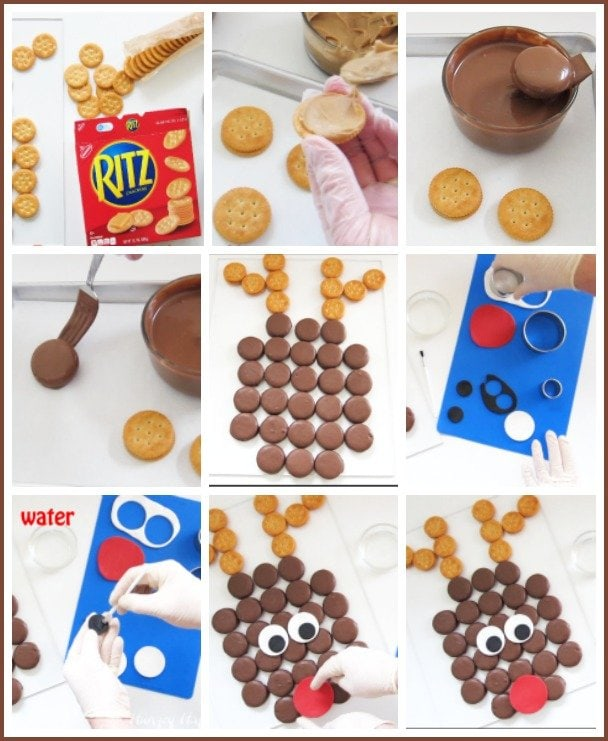How to make Chocolate Peanut Butter Cracker Rudolph snacks to make your Christmas party really festive.