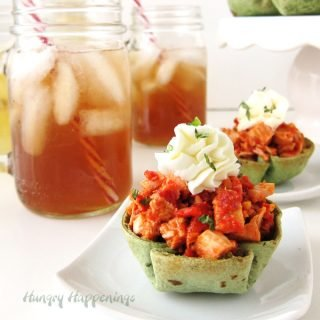 Roasted Red Pepper Pesto Chicken Salad in Spinach Tortilla Cups