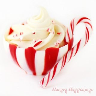 Candy Cane Chocolate Cups filled with Peppermint Mousse