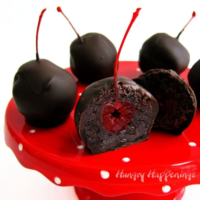 Marry a chocolate cake ball with a chocolate dipped maraschino cherry to get these amazing Chocolate Cherry Bombs.