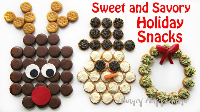 Sweet and savory holiday snacks. These cracker displays will really dress up your Christmas party table.