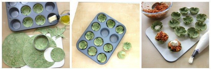 Baked spinach tortilla cups.
