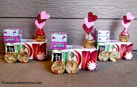 Adorable Classroom Valentine's Day Trains made from Juice Boxes and candy